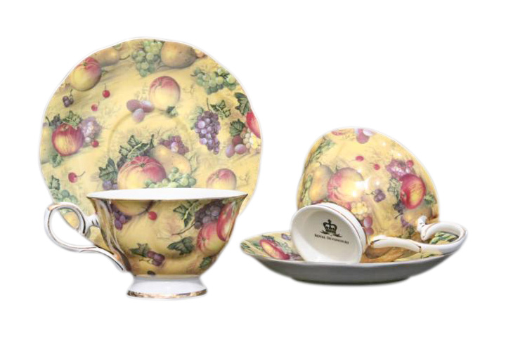 Country Fruit 2 Cup & Saucer Set